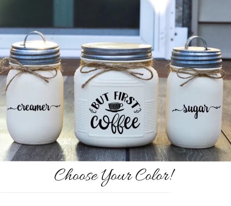 Coffee Bar Decor Cream and Sugar Set Kitchen Canister Set image 0