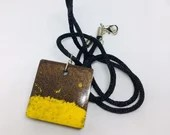 Funky pendant, Coffee brown and banana yellow surfers pendant on black hippie cord, Free Shipping