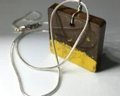 Brown and yellow, square pendant jewellery, one of a kind