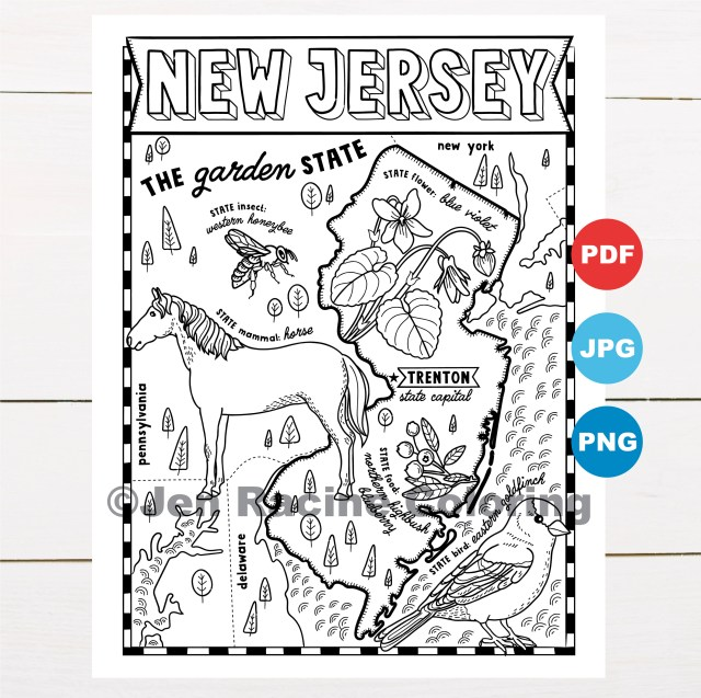 New Jersey Coloring Page, United States, State Map, Wildlife, State  Symbols, Flowers, Coloring Pages