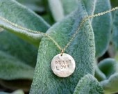Plant Love-Handmade Necklace-Gold Fill-Hammered Stamped Disc-Delicate Style