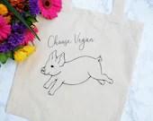 Vegan Tote Bag - Choose Vegan - Reusable Cotton Tote Bag – Eco-Friendly Bag