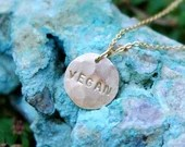 Vegan-Handmade Necklace-Gold Fill-Hammered Hand Stamped Disc-Delicate Style