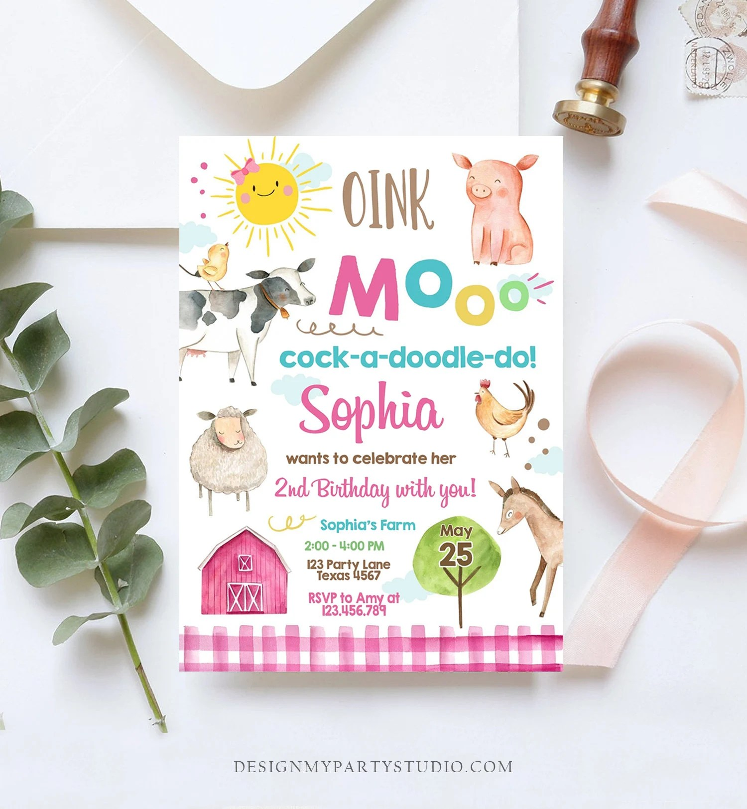 editable farm birthday invitation girl