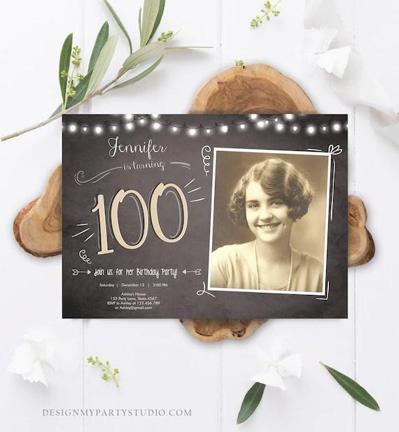 editable 100th birthday invitation chalkboard rustic adult birthday invitation hundred download printable invitation template corjl 0230