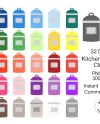 Kitchen Canister Clipart 32 Colors Kitchen Container Clip Etsy