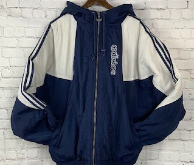 Vintage Adidas 90s Trefoil X Large Blue And White Mens Winter Puffy Coat