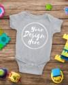 Blank Gray Baby Onesie Mockup Fashion Design Styled Baby Etsy