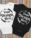 Blank White And Black Baby Onesie Mockup Fashion Design Etsy