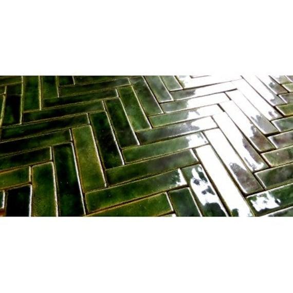 tiles mosaic green herringbone etsy