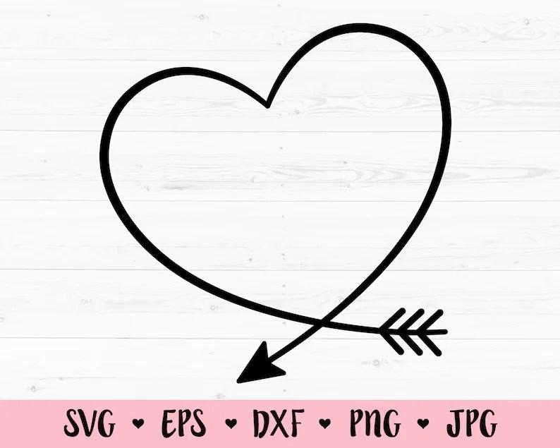 Download Heart Arrow SVG cut file Heart Monogram Frame Love ...