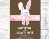 Girl Pink Easter Baby Shower Party Invitation 5x7 Spring Bunny Invite Rabbit Digital Download Printable Egg Hunt