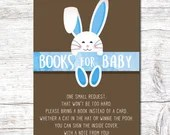 Boy Blue Easter Baby Shower Party Invitation Spring Bunny Invite Rabbit Digital Download Printable Egg Hunt Books For Baby 3.5x5