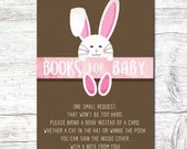 Girl Pink Easter Baby Shower Party Invitation Spring Bunny Invite Rabbit Digital Download Printable Egg Hunt Books For Baby 3.5x5