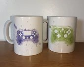 Coffee cup for xbox or PS4 watercolor style controller, cup customization, printed cup, video games