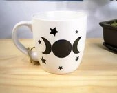 Decal vinyl for Cup of coffee with star and round Moon Cup personalization sticker, decorations, wiccan symbol.