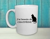 Vinyl decal for coffee cup ''I need chatife'' with a cat. sticker, decoration