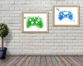 Printed with a watercolor-style video game console console illustration, wall decoration, poster, Art Digital