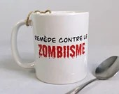 Vinyl decal for humorous coffee cup remedy against zombies, cup customization, sticker, decoration