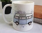 Coffee mug with watercolor style westfalia sublimated, original illustration printed on cup