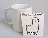 Vinyl cup or decal for coffee cup with a llama and text ''Falalallama'' . sticker, vinyl decal for smooth surface