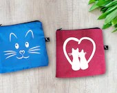 Snack and sandwich bag for cat lovers, with vinyl cat face decal and 2 cat with a heart available
