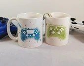 Coffee mug for xbox gamer or PS4 watercolor sublimated, cup customization, print mug, video games