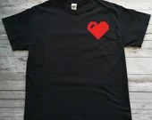 Black T-shirt with minimalist red vinyl decal with pixel heart, short sleeve sweaters.