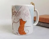 Coffee mug with fox and snow landscape, mug customization, printed mug