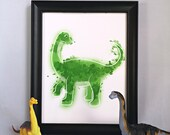 Poster print of a watercolor style diplodocus dinosaur illustration, birth poster, art, dino, wall decoration