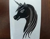 Vinyl decal for coffee cup or wine glass with Unicorn head, mug customization, sticker, decoration