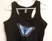 Women's camisole with blue vinyl print butterfly. Printing and illustration made in Quebec!