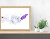 Poster with the phrase love print and feather style watercolor, wall art, digital art, decoration.