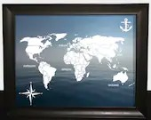 Printed decorative digital travel posters with world maps on a landscape background. travel, seas, art, decoration