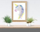 Printed poster of a Unicorn style illustration, watercolor art, birth poster, illustration kids wall decor