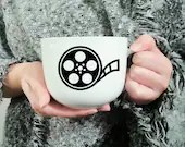 Vinyl decal for coffee mug with film reel, Cup customization, sticker, original decoration