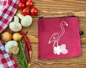 Snack and sandwich bag with a pink flamingo and a white vinyl Hibiscus flowers