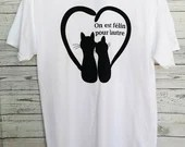 White T-shirt with 2 cat that forms a heart with their tails with text in black, white shirt, personalized, cat sweater