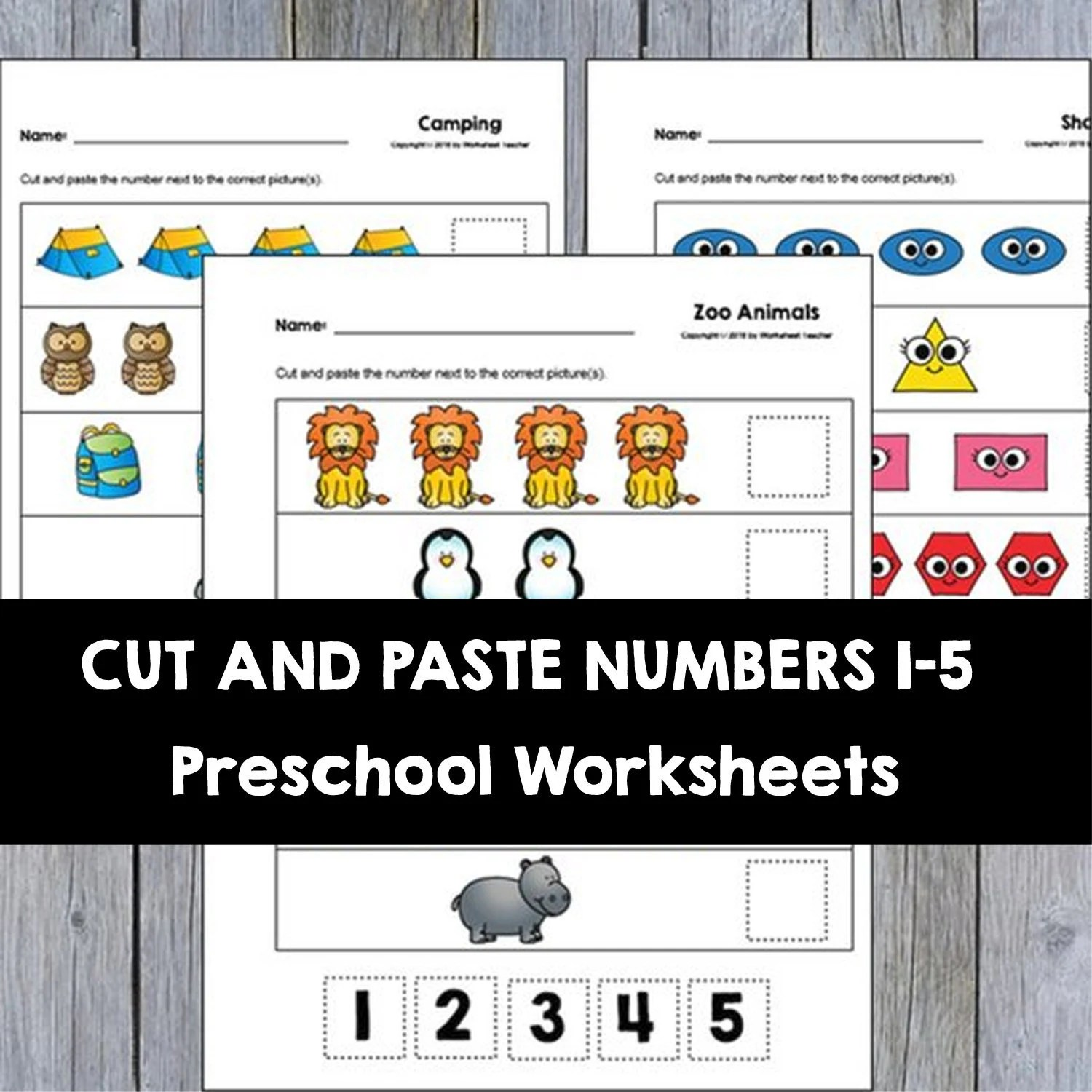 30 Cut And Paste Numbers 1 5 Printable Worksheets