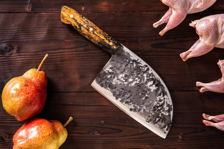 handmade serbian knife hand forged cleaver knife kitchen knife yellow-black