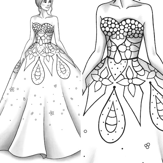 Printable Coloring Page Fashion And Clothes Colouring Sheet Etsy