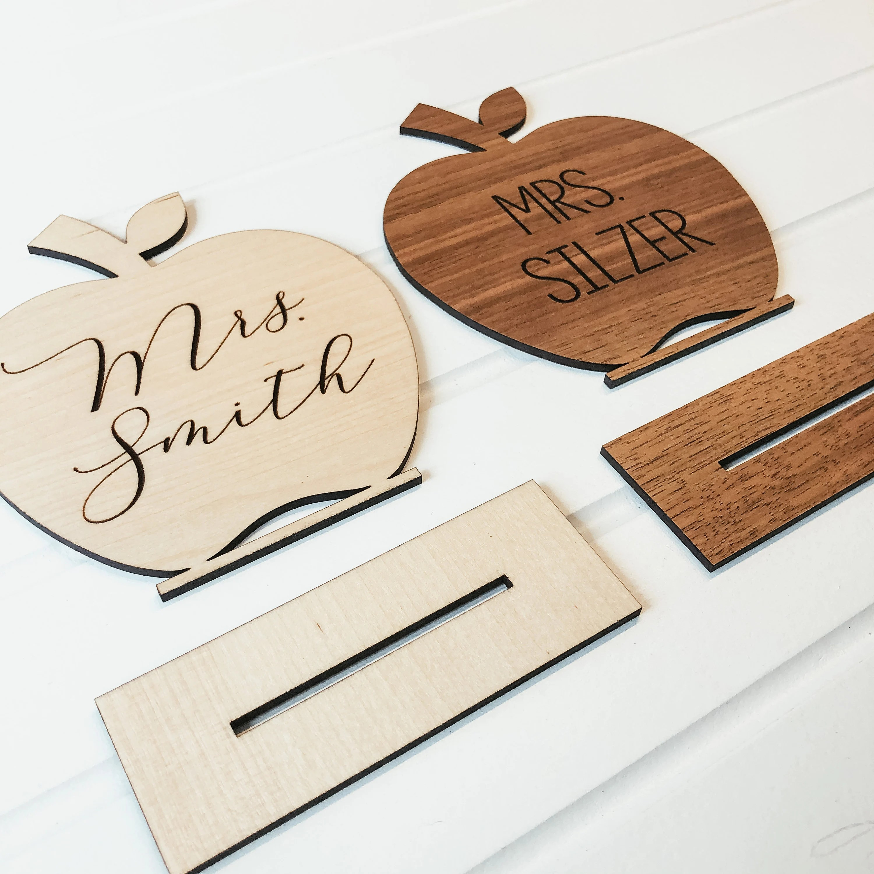Personalized Desk Name Sign Wooden Apple Teacher Desk Sign image 2