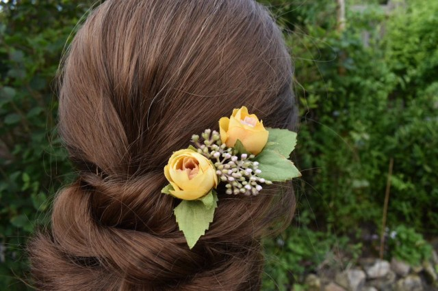 floral hair pins, yellow flower hair accessories, bridal hair piece, flower hair grips, yellow wedding hair accessories