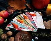 LIMITED EDITION Bookmark from Paper Autumn Collection with cuddly tassel of cotton warm colors autumn motifs leaves and plants