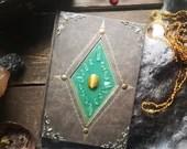 Prunk Grimoire, Elven book, Tiger Eye, Rock Crystal, Magic Journal, Wiccan Diary, Traveljournal, Notebook Kraft Paper, Sketchbook