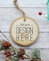 Round Wood Christmas Ornament Christmas Mockup Add Your Own Etsy