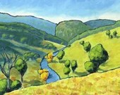 """Carcoar Valley - original acrylic painting on 16x12"""" stretched canvas. Ready to hang!"""