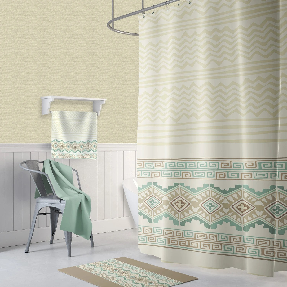 off white shower curtain delicate geometric texture feminine bath curtain retro shower curtains