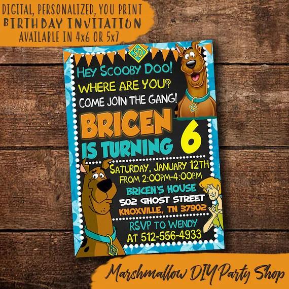 scooby doo birthday invitation scooby doo invitation digital print yourself scooby doo invite scooby doo birthday party invite