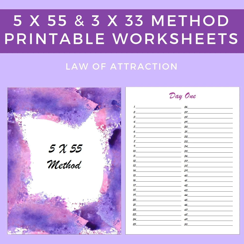 5 X 55 Printable Editable Worksheet 3 X 33 Printable